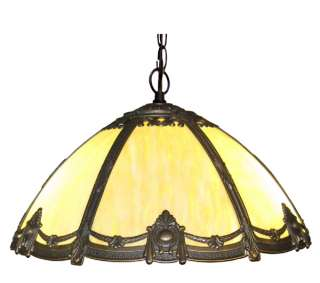 Antique Style Victorian Stained Bent Glass Hanging Lamp |