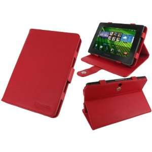 rooCASE Multi Angle (Red) Leather Folio Case Cover for