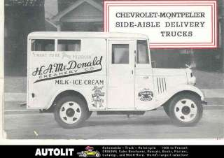 Chevrolet Mont Pelier Milk Ice Cream Delivery Truck Brochure