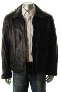 Tommy Hilfiger Mens Black Coat Leather Jacket L