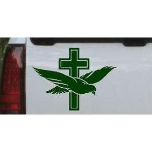 Dark Green 18in X 13.5in    Dove With Cross Christian Car Window Wall