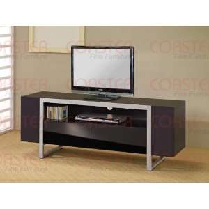 Modern TV Stand in Black Silver Tubing Finish: Home