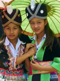 Young Hmong Women in Traditional Dress, Lao New Year Festival, Luang