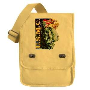 Messenger Field Bag Yellow USMC US Marine Corps Soldier with US Flag