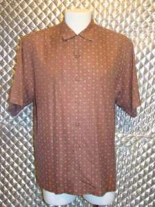 Tommy Bahama Mens 100% Silk Burgundy Print Shirt Size M