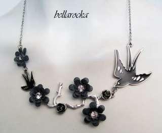 sweet swallow flower HALSKETTE schwalben rockabilly pin up tattoo