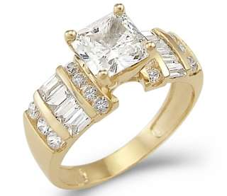 Solid 14k Yellow Gold Princess Cut CZ Engagement Ring