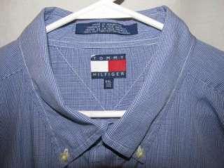 Tommy Hilfiger White Navy Blue Checkered Logo Crest Dress Shirt Mens