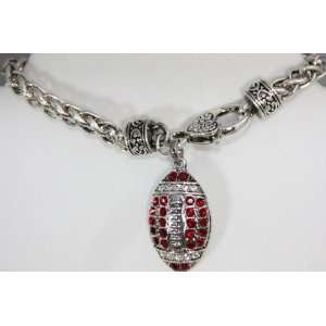 NCAA Alabama Crimson Tide Red & Silver Diamond Charm