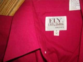 vintage ELY CATTLEMAN WESTERN SHIRT Pearl Snap Burgundy