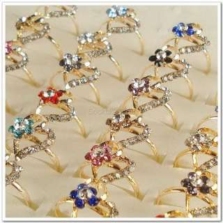 Wholesale Lots of 50PCS Heart Flowers Gold Plated Rhinestone Crystal