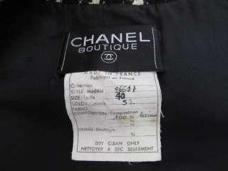 VINTAGE* Chanel Black/Ivory Houndstooth Gold Button Jacket 40