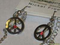 Peace Sign Necklace & Earrings Red Rhinestone Set NEW