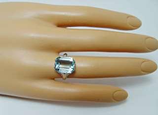 Antique 5ct Aquamarine Filigree Ring 14K White Gold Estate Jewelry