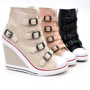 Sneakers Zip Wedge Heel Shoes US5~8 / Fashion High Top Ankle Boots