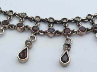 Vintage Sterling Silver Garnet Set Necklace Chain 53g 16 #75