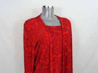 CHICOS TRAVELERS red w/ black paisley print shell jacket twinset 2 L