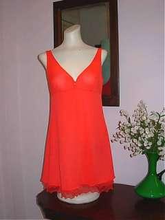 Exc Vtg Sheer Red  Short Layer Nylon Nightgown Robe Peignoir Set