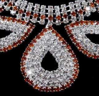 21980 4Rows Rhinestone Clear Bridal Prom Necklace 1Set