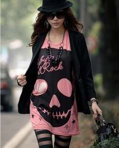 New Womens Cute Japanese Punk Skull Sexy Fun Top Shirt 3 Colors K095