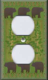 Light Switch Plate Cover   Wall Decor   Rustic   Forest Bears