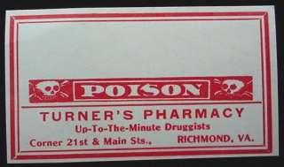 Turner Pharmacy Poison Label Skull Cross Bones Richmond