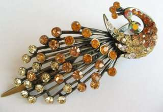SWAROVSKI CRYSTAL BIG BRONZE PEACOCK HAIR BARRETTE CLIP 597
