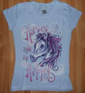 Girls HORSE Shirt~Horse Make Me Happy~Blue/Pink/Purple~