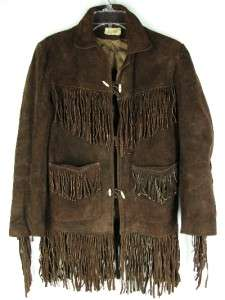 AMAZING VTG 60s Woodstock HIPPIE FRINGE Rocker Suede LEATHER JACKET