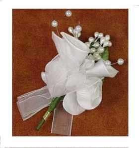 White Silk Rose & Lily Corsage/Boutonniere Wedding