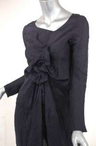 MARNI Italy Black100% crinkled double layer silk chiffon tunic/dress