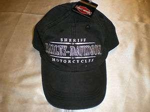 Harley Davidson Black Sheriffs Hat Biker Cap Doo Rag Do Rag Skullcap