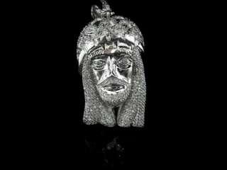 MEN 14K WHITE GOLD PLATED SIMULATED DIAMOND JESUS PIECE