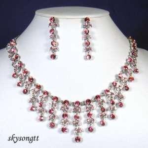 Swarovski Pink Crystal Chandelier Necklace Set S1598P