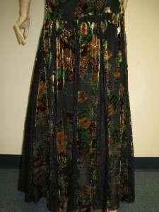 Sue Wong Designer Dress 6 Black Green Brown Flower Beaded Sequin Gown