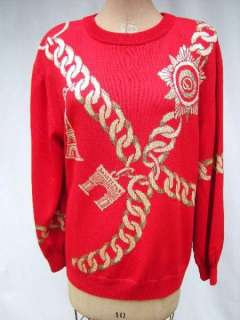 ST. JOHN Collecton Marie Gray Pullover Sweater Top Red Gold Metallic