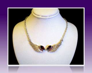 SILVER ANGEL WINGS NECKLACE~PURPLE SWAROVSKI CRYSTAL