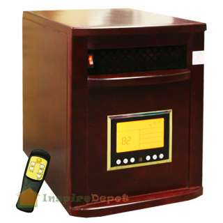 Wood Cabinet Cherry 1500W Portable Quartz Infrared Heater w/ wheels