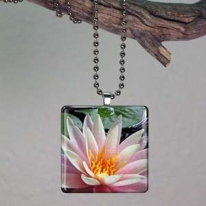 Lotus Flower Chakra Altered Art Glass Tile Pendant 147