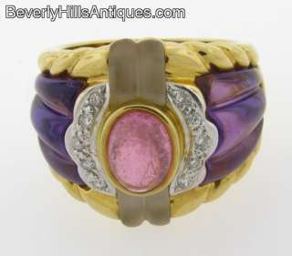 Pink Tourmaline Amethyst Rock Crystal Diamonds 18k Designer Ring