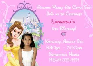 DISNEY PRINCESS BELLE BIRTHDAY PARTY INVITATIONS AND FAVORS