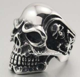 Huge 316L Stainless Steel Titan Skull Skeleton Men`s Biker Ring 3A001