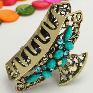 Turquoise gem butterfly swarovski crystals women retro hair claw clip