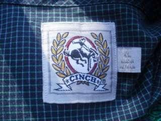 Sz XL CINCH Blue & Green Check Western Dress Shirt Long Sleeve