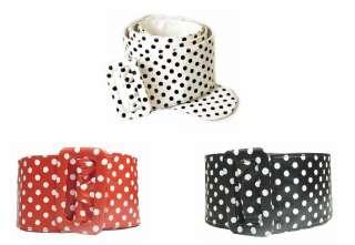 Ladies 3 Inch Wide Fancy Leather Polka Dot Cinch Belt   3 Colors