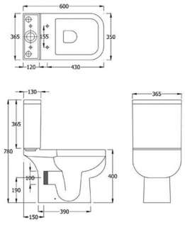 Ceramic Close Coupled WC Toilet Pan Cistern & Seat Technical Drawing