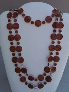 Vtg Unusual Long Plastic Faux Wood Grain Circle Beaded Necklace Belt