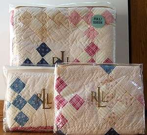 PC Ralph Lauren North Creek Full Queen Quilt with two standard shams