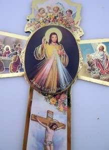 Very Divine Mercy Slim Catholic Wood Crucifix Wall Cross Gold Trim 6