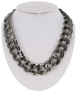 New Gun Metal Gray Chunky Double Link Chain Necklace